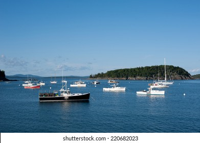 Lobster boats in a harbor