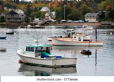Lobster Boats At Rest On An Overcast Autumn Morning In Bass Harbor, Mount Desert Island, Acadia National Park, Maine