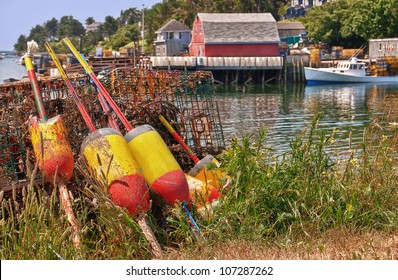 Lobster buoys and traps in a fishing village, Maine