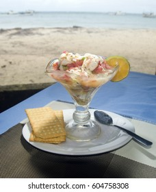 lobster ceviche as photographed in Big Corn Island Nicaragua by beach