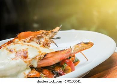 lobster and cheese in garden restaurant.