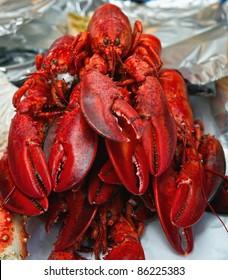 lobster. The fish market. Bergen. Norway.