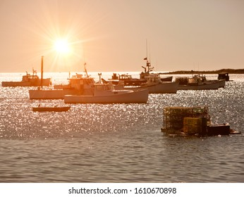 Lobster fishing boats in Maine, New England, USA