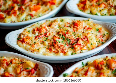 Lobster Mac n cheese. Macaroni noodles with lobster, cheese, bacon and Italian parsley. Classic American or Italian restaurant favorite. Homemade pasta with sauces, meats and cheeses.