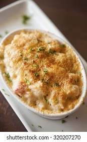 lobster mac 'n cheese topped with truffle oil