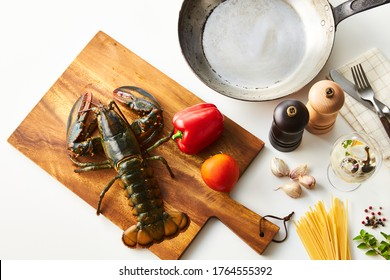 Lobster on a cutting board, kitchen image