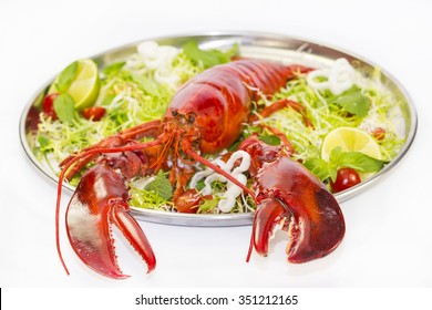lobster on a plate with a lemon lime restaurant