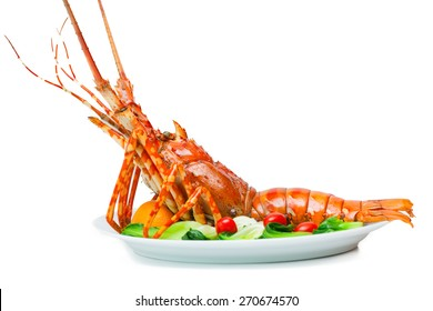 Lobster on plate white background.