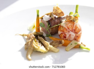 Lobster, oyster mushroom, seafood fine dining on a white plate isolated side view