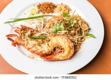 Lobster Pad Thai, stir-fried rice noodles