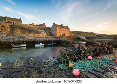 Lobster pots in the harbour at Keiss near Wick in Caithness on the north east coast of Scotland