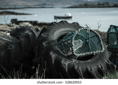Lobster Pots in Rubber Tyres by Sea