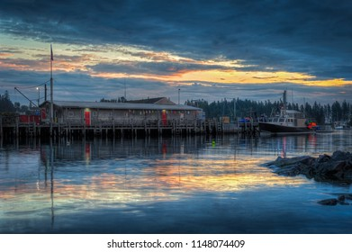 Lobster Pound at Dawn Docked Lobster Boat - Maine, USA