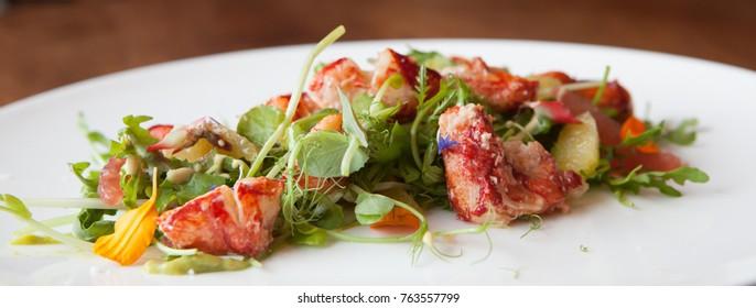 lobster salad on plate