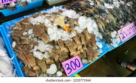 """Lobster at Seafood Market in Pattaya, Thailand. This message is """"it's a lot"""""""