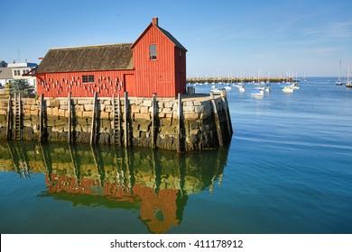 Lobster shack and landmark of Rockport, MA
