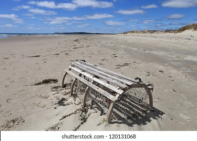 Lobster trap on a deserted beach