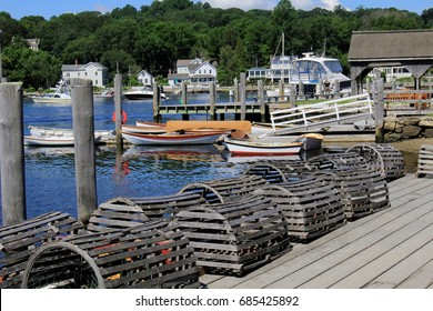 Lobster traps on dock at Mystic Seaport, Mystic CT