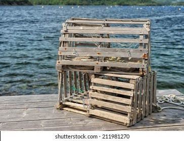 Lobster traps on a dock in Newfoundland and Labrador, Canada