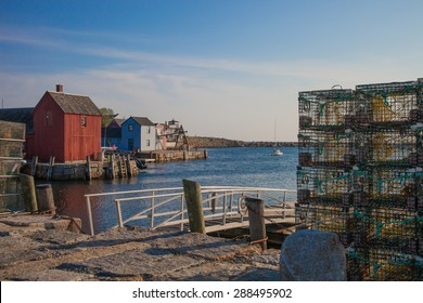 Lobster traps stacked in Rockport, MA, a quaint fishing village located along the northern coast of Massachusetts
