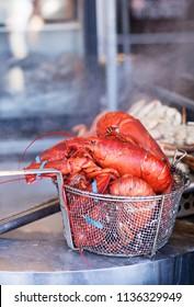 Lobsters in a basket, Fisherman Wharf, San Francisco, California