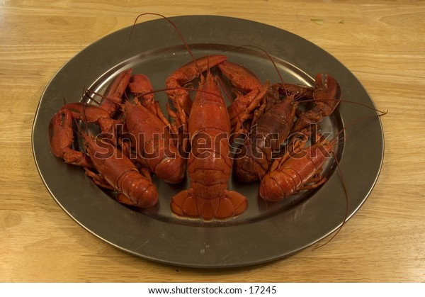 Lobsters on a platter
