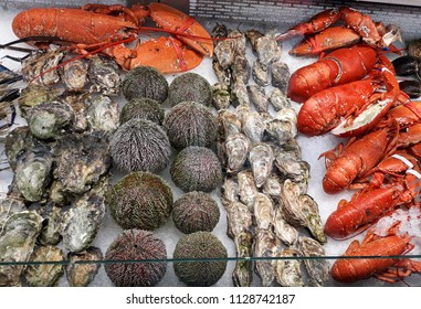 Lobsters, oysters and sea food sold in the famous Fish Market in Bergen, Norway