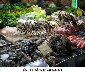 Lobsters sold by street vendor at China Town, Yaowarat, at night in Bangkok