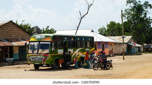 Local bus in Mloka, at the entrance of the Selous Game Reserve, Tanzania, circa January 2018