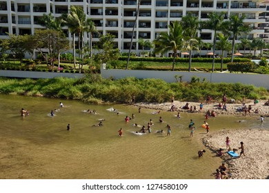 Local children and families playing in the Cuale river at Olas Altas Beach Puerto Vallarta, Mexico - March 13, 2016