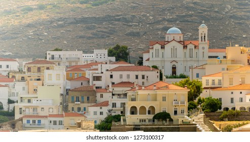 Local church of Andros town at Andros island in Greece.