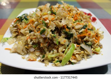 A local dish of Sri Lanka called Kottu. Meaning: Chopped bread.