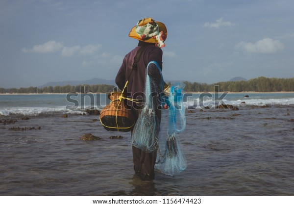 Local Fisherman Holding Cast Net Catch Stock Photo Edit Now 1156474423