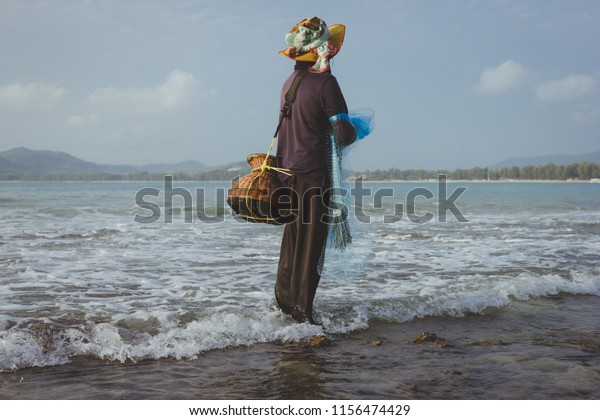 Local Fisherman Holding Cast Net Catch Stock Photo Edit Now 1156474429