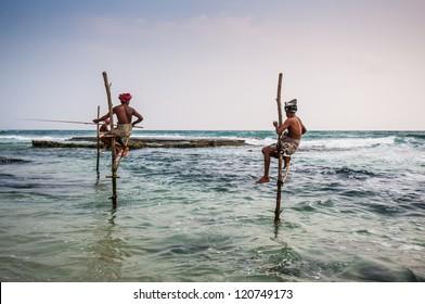 Local fishermen in Ahangama, Sri Lanka.