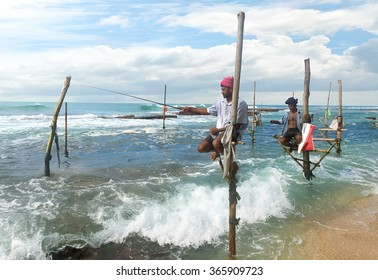 Local fishermen on stick in indian ocean, Sri lanka