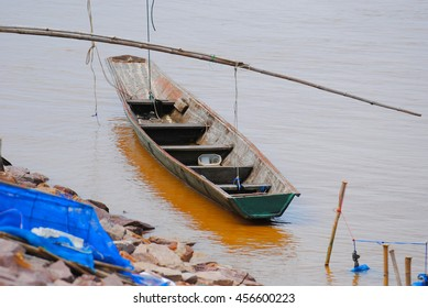 Local fishing boats are made of wood.Fishing boats of local fishermen made of wood. In roaming across the shore and fishing in the river or lake.