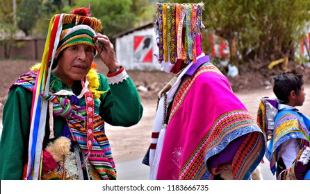 Local folk dancers and performers during Santa Rosa De Lima Festival in Lamay. Province Calca. Peru. Colorful celebration attracts numerous tourists from around  world to Lamay. Photo taken 2018-08-31