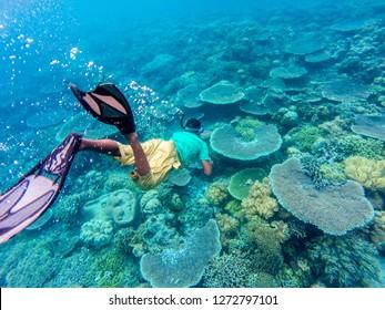 local free dive guide swing to the coral reefs in diving spot in wangi wangi Island, Wakatobi, wakatobi national park, Indonesia, 11 May 2017