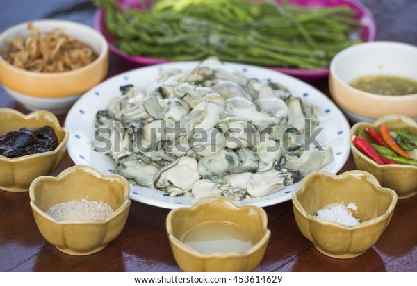 Local fresh oyster  in dish