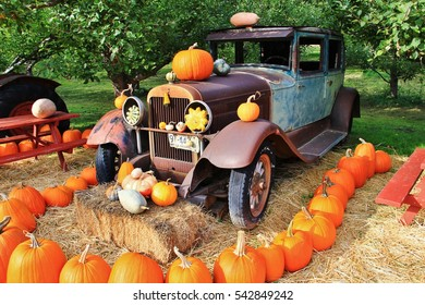 Local fruit shop, dealer in Princeton, British Columbia. Nice decoration with pumpkin, groud, fruits on Vintage tractor, Classic cars