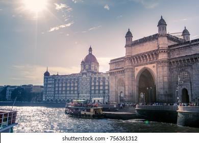 local and international tourist visit gateway of india, mumbai, india