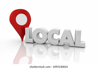 Local Map Pin Location Home Town Word 3d Illustration
