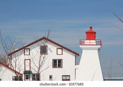 Local marina Lighting house during winter time -Horizontal. Lighting house of Niagara On The Lake local marina.