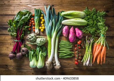 Local market fresh vegetable, garden produce, clean eating and dieting concept - Shutterstock ID 409633858