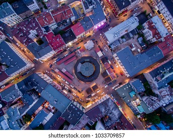 A local market named Plac Nowy in Krakow in Poland seen from above in drone photo. Shoot in the evening, Historical European market in downtown.
