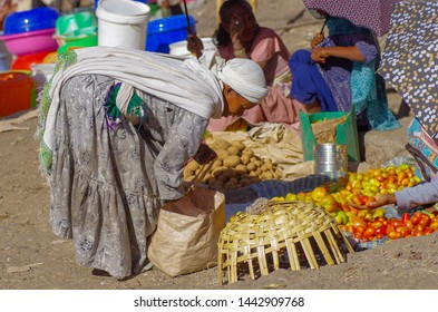 Local people working around Lalibela market on 5.February 2019, Lalibela town, Ethiopia