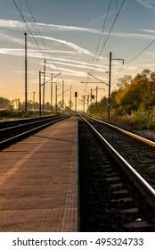 Local Slovak train station at sunset