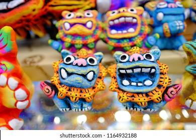 Local souvenir represent Japan Okinawa (pair of lucky lion)