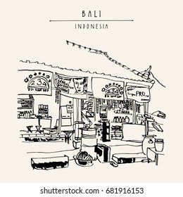 A local store in Kedonganan, Jimbaran beach, Bali, Indonesia, Asia. Summer tropical vintage landscape. Exotic location. Hand drawing. Travel sketch. Book illustration, postcard or poster